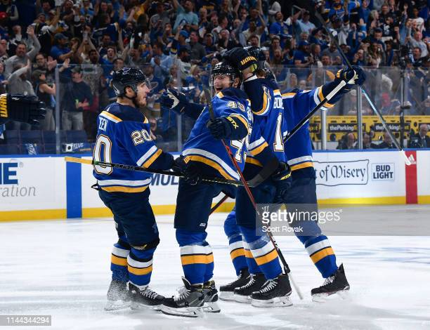Ivan Barbashev of the St Louis Blues is congratulated after scoring a goal against the San Jose Sharks in Game Four of the Western Conference Final...