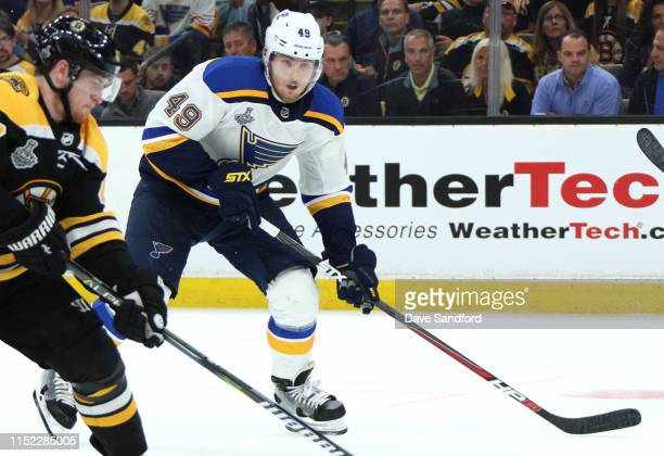 Ivan Barbashev of the St Louis Blues plays against the Boston Bruins in Game One of the 2019 Stanley Cup Finals at TD Garden on May 27 2019 in Boston...