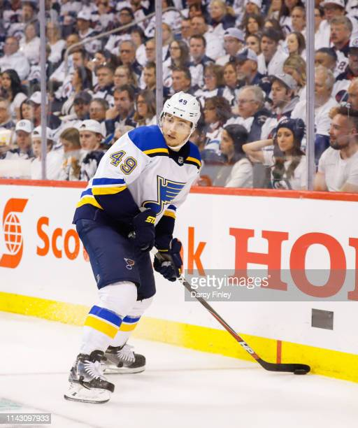 Ivan Barbashev of the St Louis Blues plays the puck along the boards during third period action against the Winnipeg Jets in Game Two of the Western...