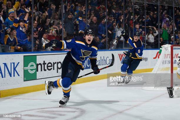 Ivan Barbashev of the St Louis Blues reacts after scoring a goal against the Nashville Predators at Enterprise Center on November 23 2018 in St Louis...
