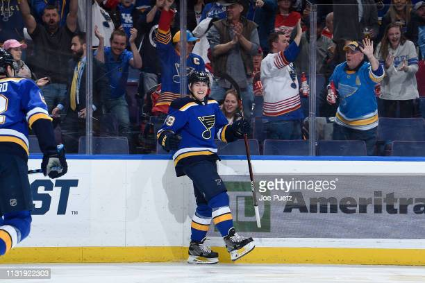 Ivan Barbashev of the St Louis Blues reacts after scoring a goal against the Detroit Red Wings at Enterprise Center on March 21 2019 in St Louis...