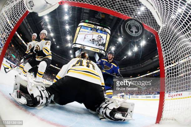 Ivan Barbashev of the St Louis Blues scores a second period goal past Tuukka Rask of the Boston Bruins in Game Three of the 2019 NHL Stanley Cup...
