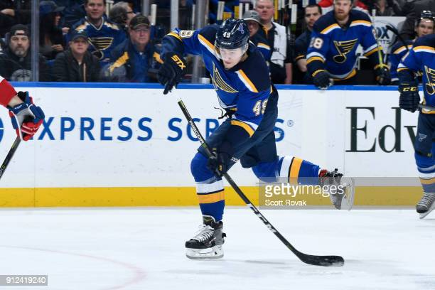 Ivan Barbashev of the St Louis Blues shoots and scores against the Montreal Canadiens at Scottrade Center on January 30 2018 in St Louis Missouri