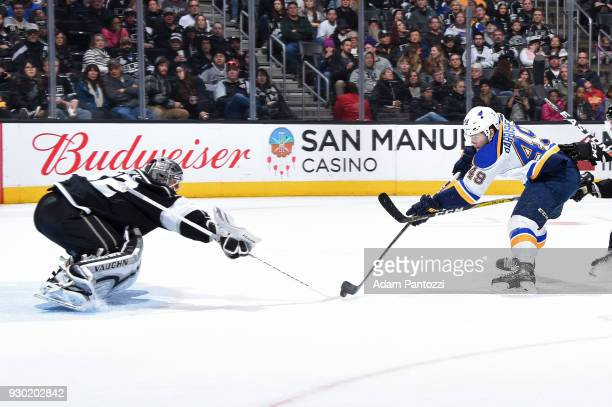 Ivan Barbashev of the St Louis Blues shoots the puck against Jonathan Quick of the Los Angeles Kings at STAPLES Center on March 10 2018 in Los...