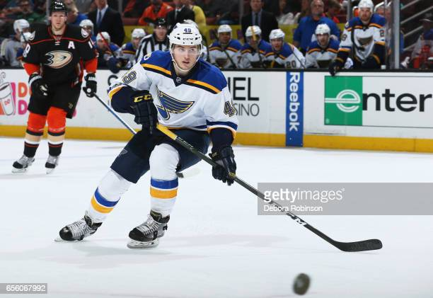 Ivan Barbashev of the St Louis Blues skates for the puck during the game against the Anaheim Ducks on March 15 2017 at Honda Center in Anaheim...