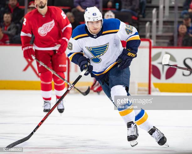 Ivan Barbashev of the St Louis Blues skates up ice against the Detroit Red Wings during an NHL game at Little Caesars Arena on November 28 2018 in...