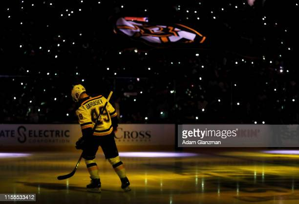 Ivan Barbashev of the St Louis Blues takes to the ice prior to Game Seven of the 2019 NHL Stanley Cup Final against the Boston Bruins at TD Garden on...