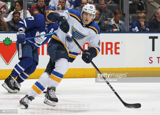 Ivan Barbashev of the StLouis Blues skates against the Toronto Maple Leafs during an NHL game at the Air Canada Centre on January 16 2018 in Toronto...