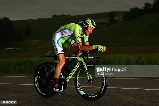 Ivan Basso of Italy and Cannondale in action during the twelfth stage of the 2014 Giro d'Italia a 42km Individual Time Trial stage between Barbarasco...