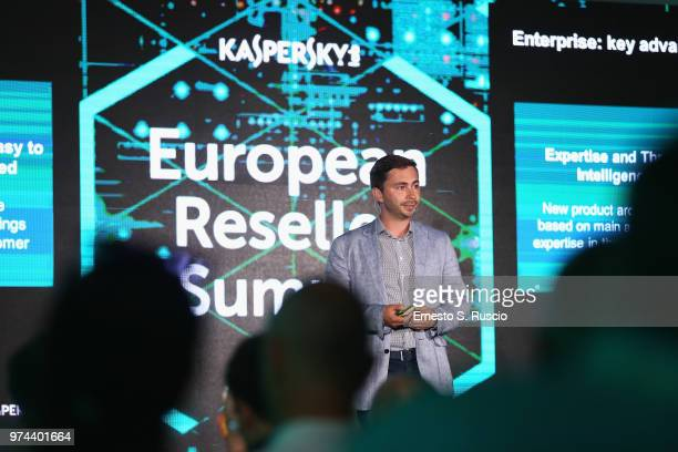 Ivan Bulaev holds a speech at the Kaspersky Lab European Reseller Summit 2018 on June 12 2018 in Milano Marittima Cervia Italy Kaspersky Lab held its...