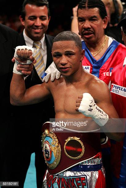 Ivan Calderon of Puerto Rico poses after defeating Gerardo Verde of Mexico as he remains the WBO Minimumweight Champion at Boardwalk Hall on June 25...