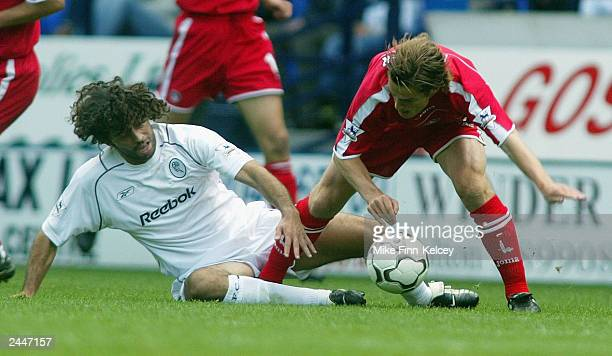 Ivan Campo of Bolton Wanderers clashes with Scott Parker of Charlton Athletic during the FA Barclaycard Premiership match between Bolton Wanderers...