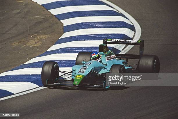 Ivan Capelli of Italy drives the Adrian Newey designed Leyton House Racing Leyton House CG901 Judd V8 during the British Grand Prix on 15 July 1990...