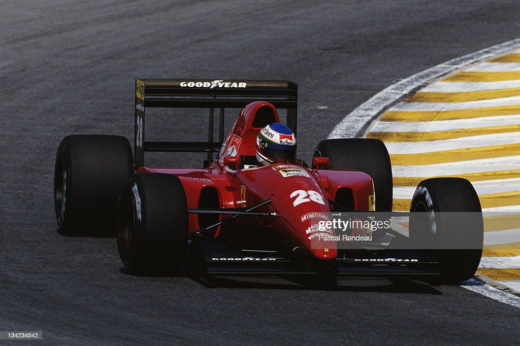 Ivan Capelli of Italy drives the #28 Scuderia Ferrari SpA Ferrari F92A during the Brazilian Grand Prix on 5th April 1992 at the Aut?dromo Jos? Carlos Pace, Interlagos, Brazil.