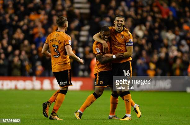 Ivan Cavaleiro celebrates with Conor Coady of Wolverhampton Wanderers after he scores during the Sky Bet Championship match between Wolverhampton...
