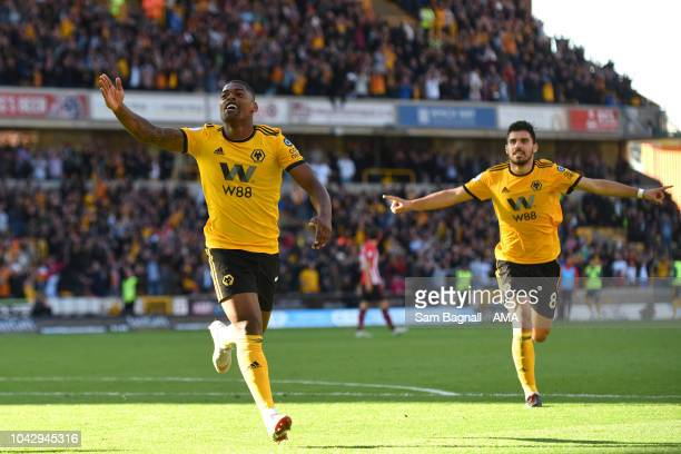 Ivan Cavaleiro of Wolverhampton Wanderers celebrates after scoring a goal to make it 10 during the Premier League match between Wolverhampton...