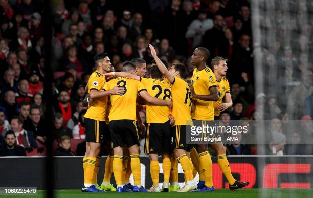 Ivan Cavaleiro of Wolverhampton Wanderers celebrates after scoring a goal to make it 01 during the Premier League match between Arsenal FC and...