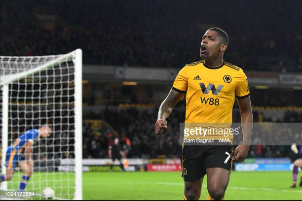 Ivan Cavaleiro of Wolverhampton Wanderers celebrates after scoring a goal to make it 32 during the FA Cup Fourth Round Replay match between...