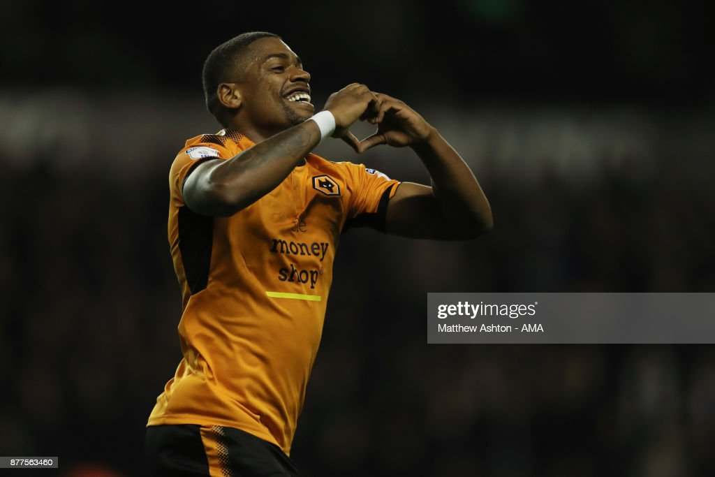 Ivan Cavaleiro of Wolverhampton Wanderers celebrates after scoring a goal to make it 2-0 during the Sky Bet Championship match between Wolverhampton and Leeds United at Molineux on November 22, 2017 in Wolverhampton, England.