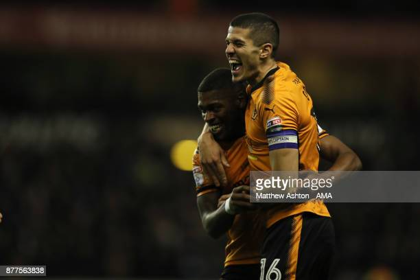 Ivan Cavaleiro of Wolverhampton Wanderers celebrates after scoring a goal to make it 20 with Conor Coady during the Sky Bet Championship match...