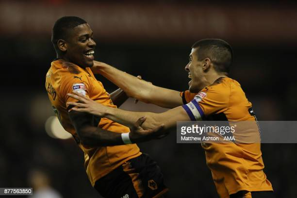 Ivan Cavaleiro of Wolverhampton Wanderers celebrates after scoring a goal to make it 2-0 with Conor Coady during the Sky Bet Championship match...