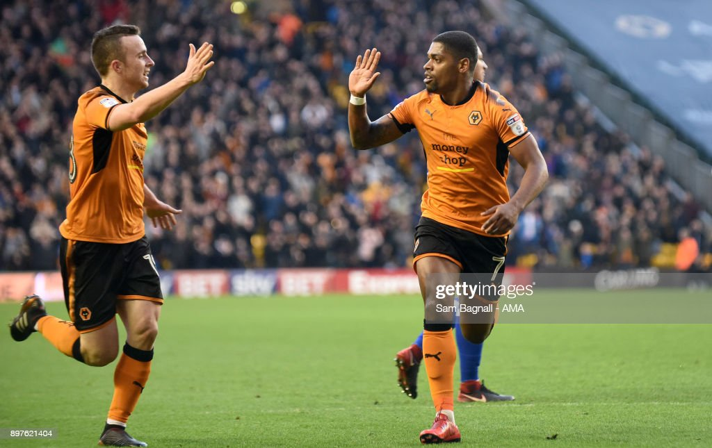 Ivan Cavaleiro of Wolverhampton Wanderers celebrates after scoring a goal to make it 1-0 with Diogo Jota of Wolverhampton Wanderers during the Sky Bet Championship match between Wolverhampton and Ipswich Town at Molineux on December 23, 2017 in Wolverhampton, England.