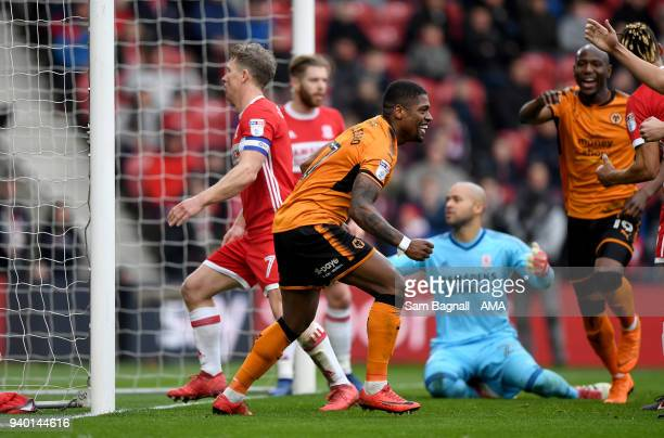 Ivan Cavaleiro of Wolverhampton Wanderers celebrates after scoring a goal to make it 02 during the Sky Bet Championship match between Middlesbrough...