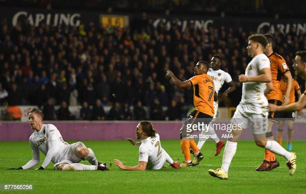 Ivan Cavaleiro of Wolverhampton Wanderers scores a goal to make it 2-0 during the Sky Bet Championship match between Wolverhampton and Leeds United...