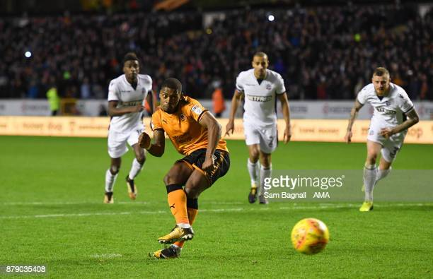 Ivan Cavaleiro of Wolverhampton Wanderers scores a goal to make it 30 during the Sky Bet Championship match between Wolverhampton and Bolton...
