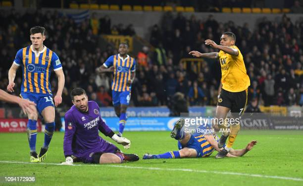 Ivan Cavaleiro of Wolverhampton Wanderers scores a goal to make it 32 during the FA Cup Fourth Round Replay match between Wolverhampton Wanderers and...