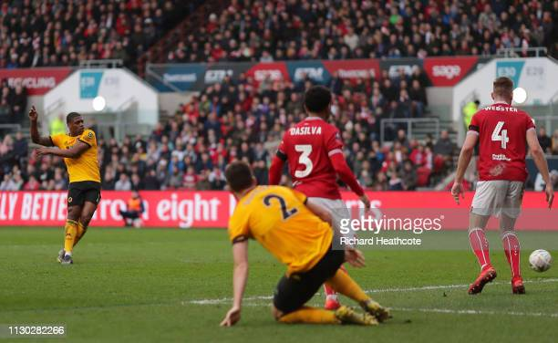 Ivan Cavaleiro of Wolverhampton Wanderers scores his team's first goal during the FA Cup Fifth Round match between Bristol City and Wolverhampton...