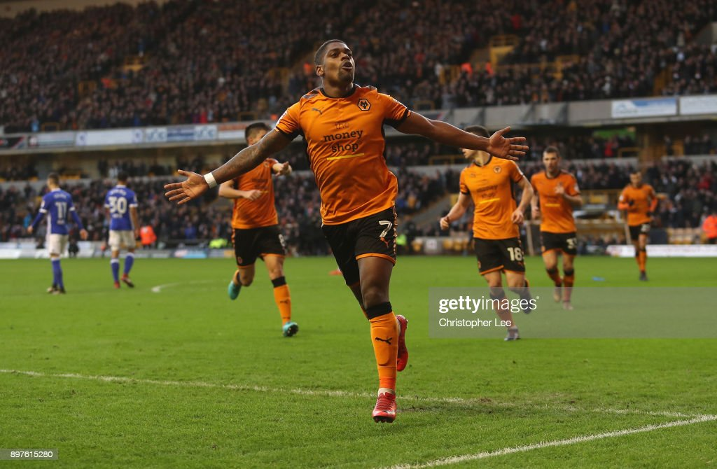 Ivan Cavaleiro of Wolves celebrates scoring their first goal during the Sky Bet Championship match between Wolverhampton and Ipswich Town at Molineux on December 23, 2017 in Wolverhampton, England.
