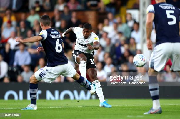 Ivan Caveleiro of Fulham FC scores his teams first goal during the Sky Bet Championship match between Fulham and Millwall at Craven Cottage on August...