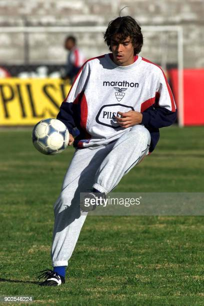 Ivan Caviedes of Ecuador dribbles the ball during a practice session in Quito Ecuador 08 August 2001 The Ecuadoran team is gearing up for its World...