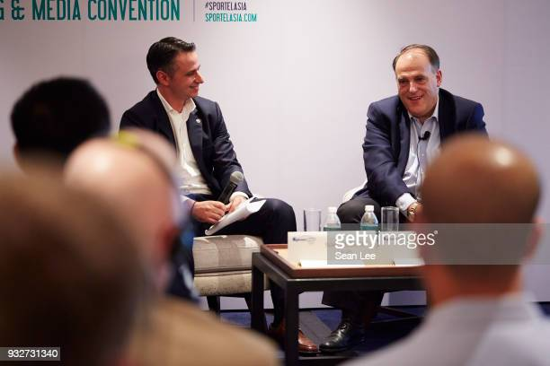 Ivan Codino and Javier Tebas of La Liga speak at the Sportel Asia Convention on March 13 2018 in Singapore