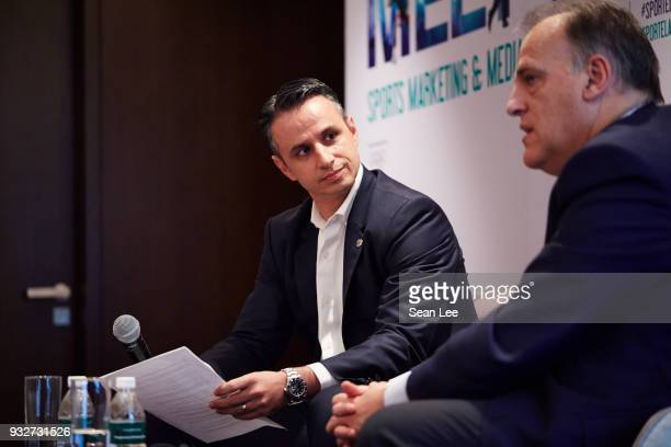 Ivan Codino of La Liga listens to Javier Tebas of La Liga at the Sportel Asia Convention on March 13 2018 in Singapore