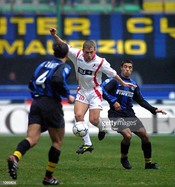 Ivan Cordoba of Inter Milan and Antonio Cassano of Bari in action during a SERIE A 16th Round League match between Inter and Bari played at the San...