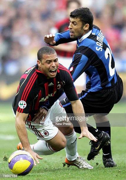 Ivan Cordoba of Inter tackles Ronaldo of AC Milan during the Serie A match between Inter Milan and AC Milanat the San Siro Stadium on March 11 2007...