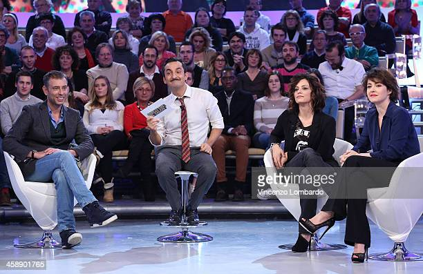 Ivan Cotroneo Nicola Savino Alessia Barela and Vanessa Compagnucci appear on Italian tv show 'Quelli Che Il Calcio' on December 22 2013 in Milan Italy