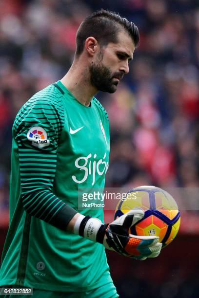 Ivan Cuellar goalkeeper of Sporting de Gijon during the La Liga Santander match between Sporting de Gijon and Atletico de Madrid at El Molinon...