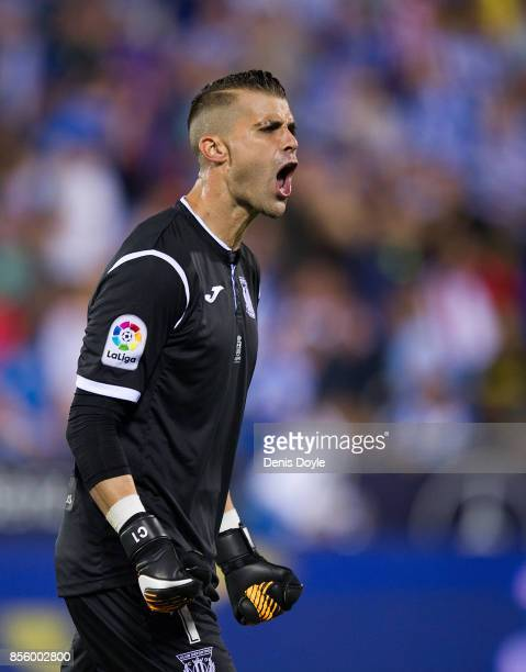 Ivan Cuellar of CD Leganes celebrates after his team drew 00 in the La Liga match between Leganes and Atletico Madrid at Estadio Municipal de...