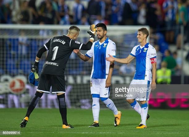 Ivan Cuellar of CD Leganes celebrates with teammates after his team drew 00 in the La Liga match between Leganes and Atletico Madrid at Estadio...