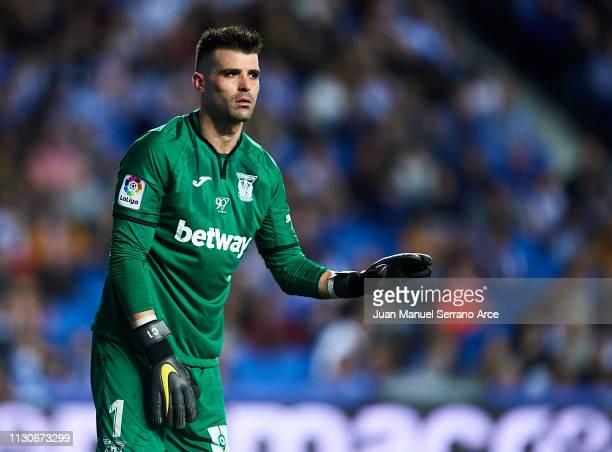 Ivan Cuellar of CD Leganes reacts during the La Liga match between Real Sociedad and CD Leganes at Estadio Anoeta on February 16 2019 in San...