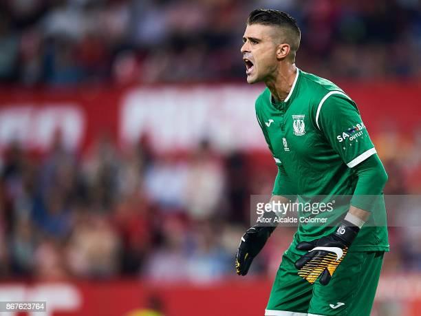 Ivan Cuellar of CD Leganes reacts during the La Liga match between Sevilla and Leganes at Estadio Sanchez Pizjuan on October 28 2017 in Seville
