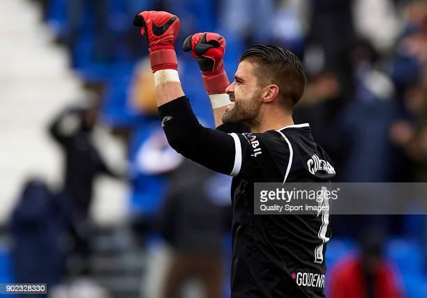 Ivan Cuellar of Leganes celebrates during the La Liga match between Leganes and Real Sociedad at Estadio Municipal de Butarque on January 7 2018 in...