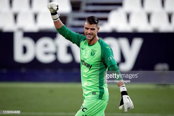 Ivan Cuellar of Leganes celebrates the victory during the La Liga Santander match between Leganes v Valencia at the Estadio Municipal de Butarque on...
