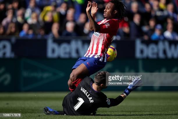 Ivan Cuellar of Leganes Gelson Martins of Atletico Madrid during the La Liga Santander match between Leganes v Atletico Madrid at the Estadio...