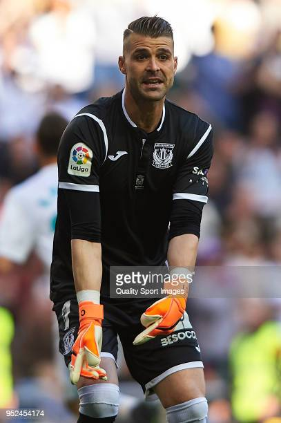 Ivan Cuellar of Leganes reacts during the La Liga match between Real Madrid and Leganes at Estadio Santiago Bernabeu on April 28 2018 in Madrid Spain