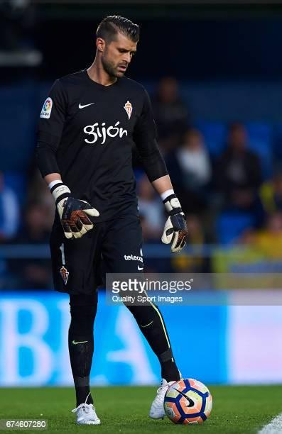Ivan Cuellar of Real Sporting de Gijon controls the ball during the La Liga match between Villarreal CF and Real Sporting de Gijon at Estadio de la...