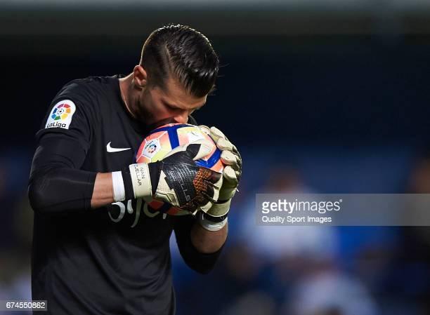 Ivan Cuellar of Real Sporting de Gijon reacts during the La Liga match between Villarreal CF and Real Sporting de Gijon at Estadio de la Ceramica on...